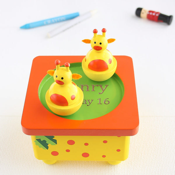 Photo 2 | Personalised Yellow Giraffe Wooden Music Box