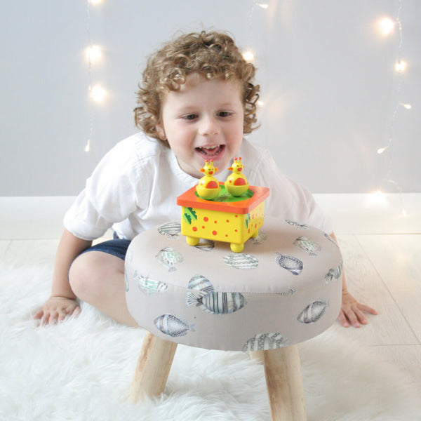 Henry Looking | Personalised Yellow Giraffe Wooden Music Box