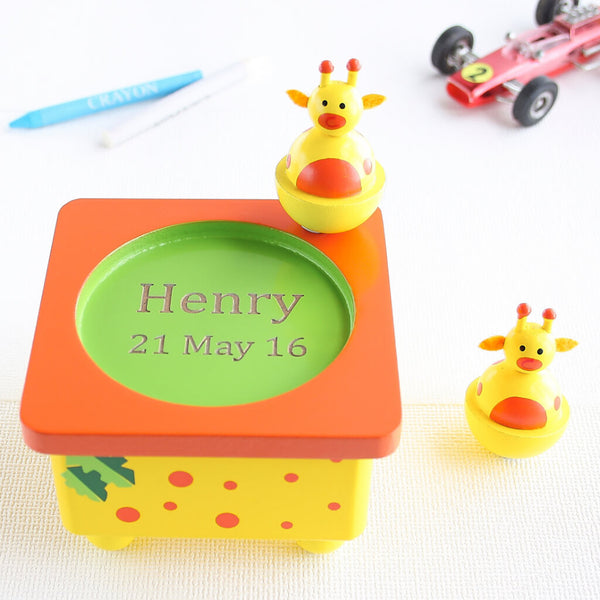 Personalised Yellow Giraffe Wooden Music Box
