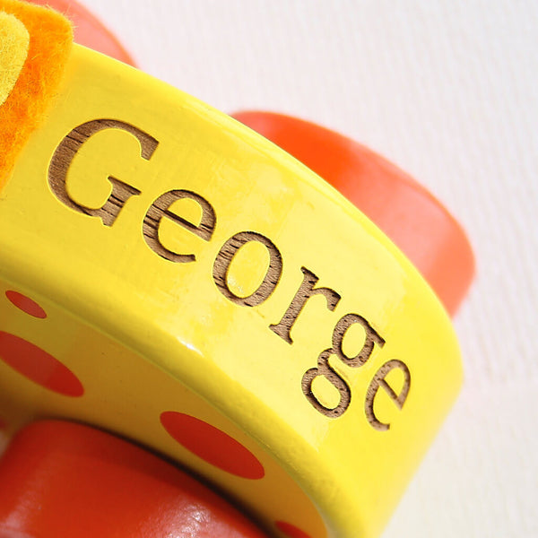 Engraved Text | Personalised Yellow Giraffe Wooden Pull Along Toy