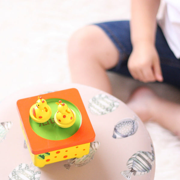 Henry | Personalised Yellow Giraffe Wooden Music Box
