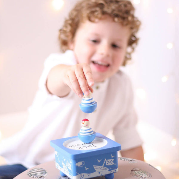 Henry Playing 2 | Personalised Pirate Blue Wooden Music Box