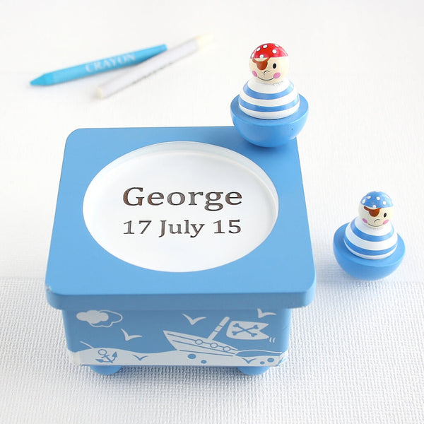 Personalised Pirate Blue Wooden Music Box