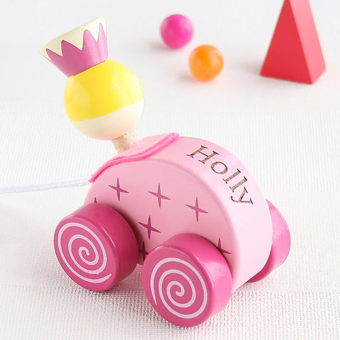 Personalised Pink Princess Wooden Pull Along Toy