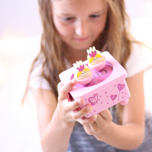 Leia Holding | Personalised Princess Pink Wooden Music Box