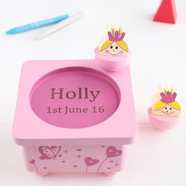 Personalised Princess Pink Wooden Music Box
