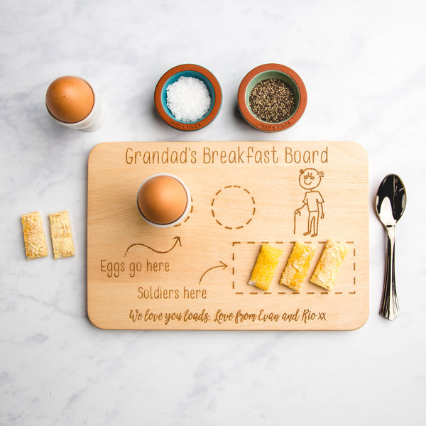 Breakfast Family Member Personalised Engraved Wooden Board