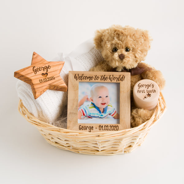 Personalised Deluxe New Baby Gift Basket | Hamper