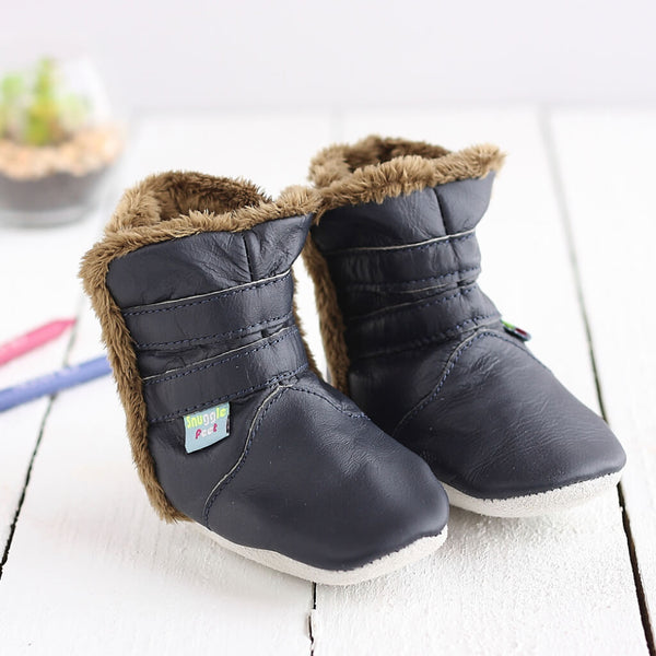 Classic Navy Soft Leather Baby Boots | Lifestyle