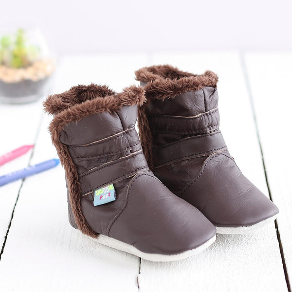 Classic Brown Soft Leather Baby Boots | Lifestyle