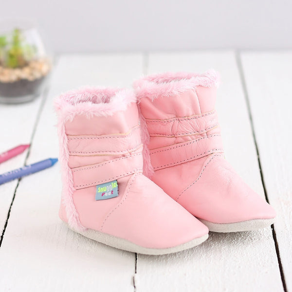Classic Pink Soft Leather Baby Boots | Lifestyle