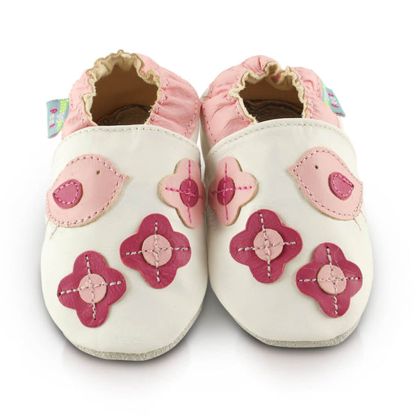 Pretty Birds Soft Leather Baby Shoes | Front View | Girls | White