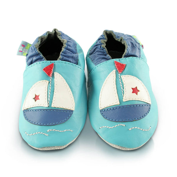 Boat Soft Leather Baby Shoes | Front View | Boys | Blue