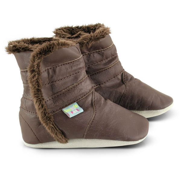 Classic Brown Soft Leather Baby Boots | Front View | Boys | Brown