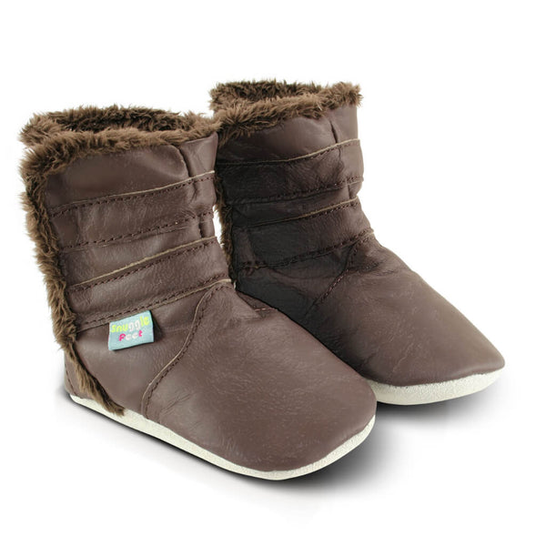 Classic Brown Soft Leather Baby Boots | Side View