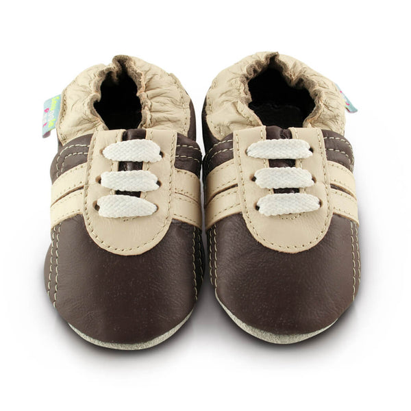 Brown Trainer Soft Leather Baby Shoes | Front View | Boys | Brown