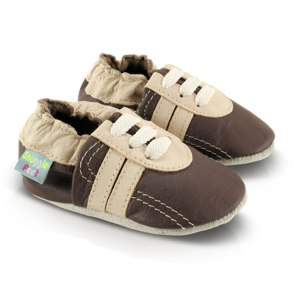 Brown Trainer Soft Leather Baby Shoes | Side View