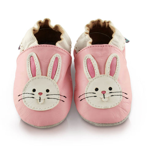 Pink Bunny Soft Leather Baby Shoes | Front View | Girls | Pink