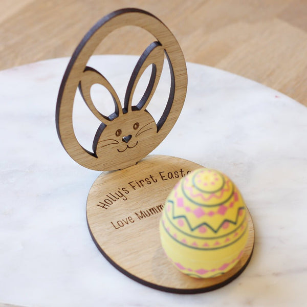 Personalised Easter Keepsake Wooden Ornament Egg & Bunny With Stand
