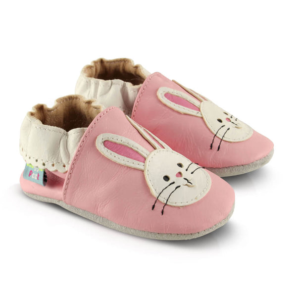 Pink Bunny Soft Leather Baby Shoes | Side View