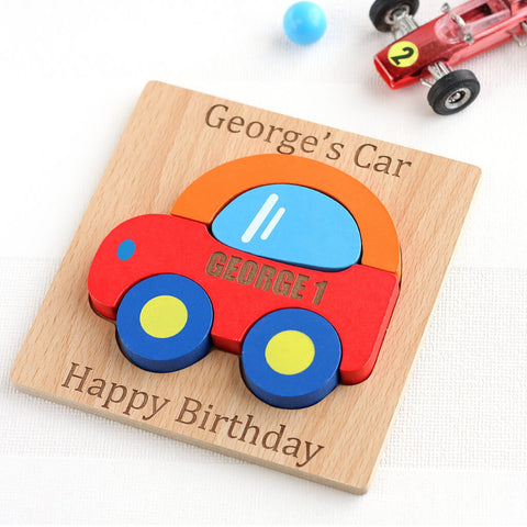Personalised Wooden Car Jigsaw Puzzle Toy