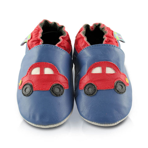 Red Cars Soft Leather Baby | Front View | Boys | Blue