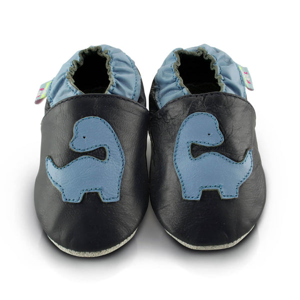 Blue Dinosaur Soft Leather Baby Shoes | Front View | Boys | Blue