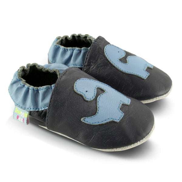 Blue Dinosaur Soft Leather Baby Shoes | Side View