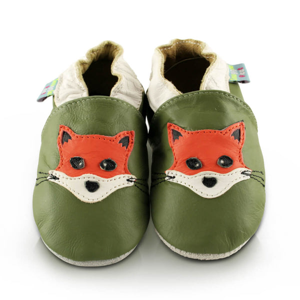 Fox Green Soft Leather Baby Shoes | Front View | Boys | Green