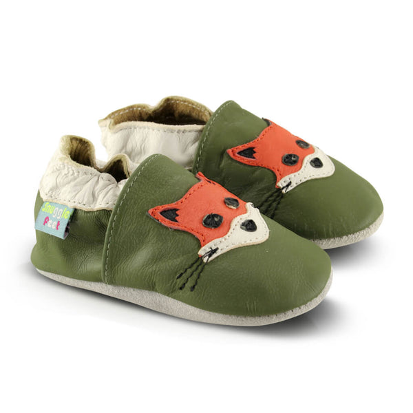 Fox Green Soft Leather Baby Shoes | Side View