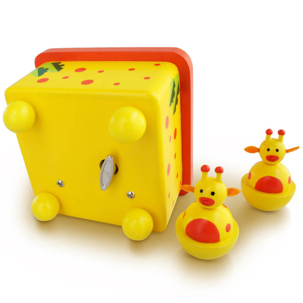 Bottom | Personalised Yellow Giraffe Wooden Music Box
