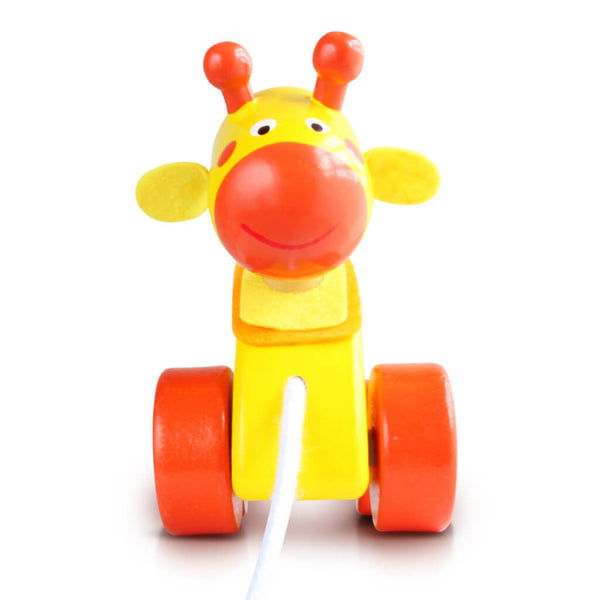 Front | Personalised Yellow Giraffe Wooden Pull Along Toy