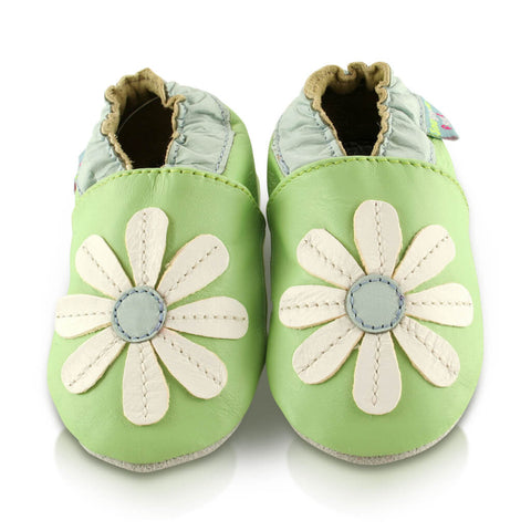 Green Stitched Daisy Soft Leather Baby Shoes | Front View | Girls