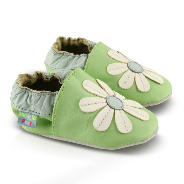 Green Stitched Daisy Soft Leather Baby Shoes | Side View