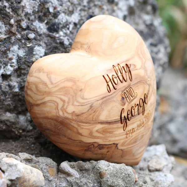 Custom Personalised Olive Wood Wedding Heart