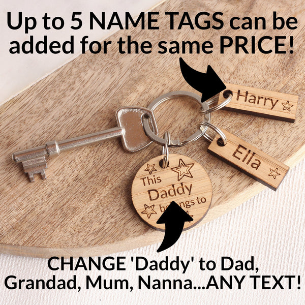 Personalised Oak 'This Daddy Belongs To...' Keyring