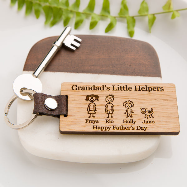 Family Member Personalised Engraved Wooden Oak Keyring