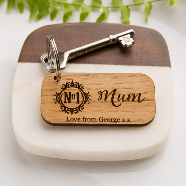 'No 1 Mum' Personalised Wood Key Ring