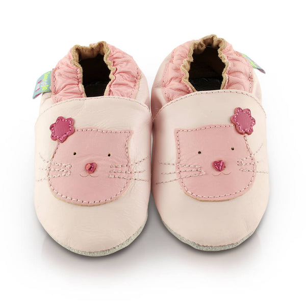 Pink Cute Kitten Soft Leather Baby Shoes | Front View | Girls | Pink