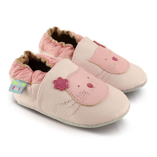 Pink Cute Kitten Soft Leather Baby Shoes | Side View