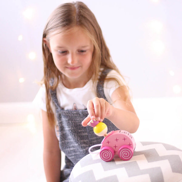 Leia | Personalised Pink Princess Wooden Pull Along Toy