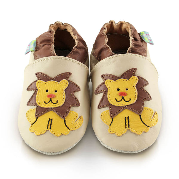 Hungry Lion Soft Leather Baby Shoes | Front View | Boys | Beige