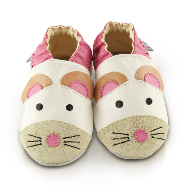 Cute Mouse Soft Leather Baby Shoes | Front View | Girls | White