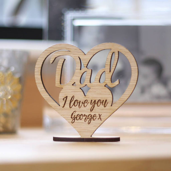 Personalised Dad Keepsake Wooden Ornament Heart With Stand
