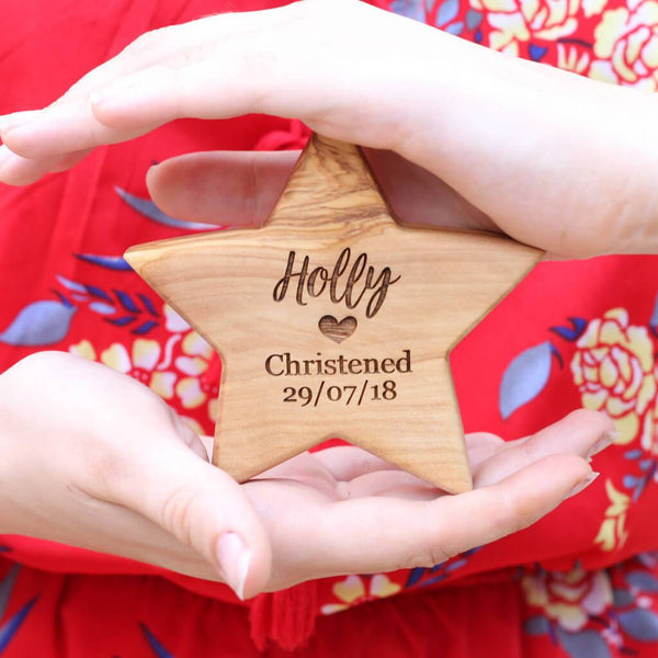 Personalised Olive Wood Christening Star
