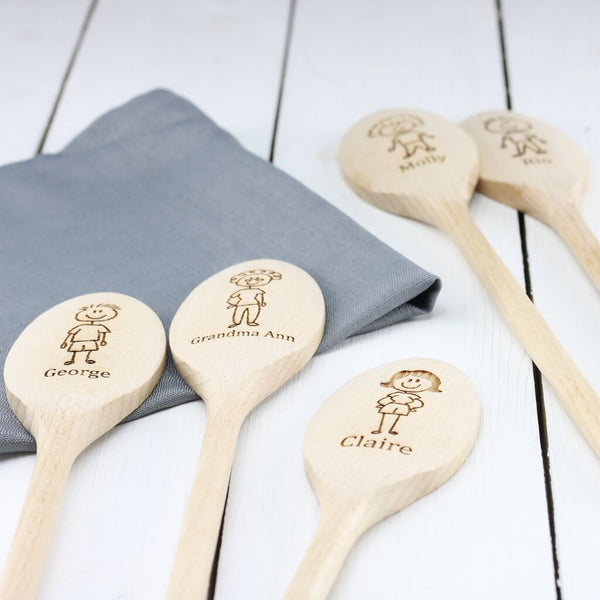 Family Member Personalised Engraved Wooden Spoon