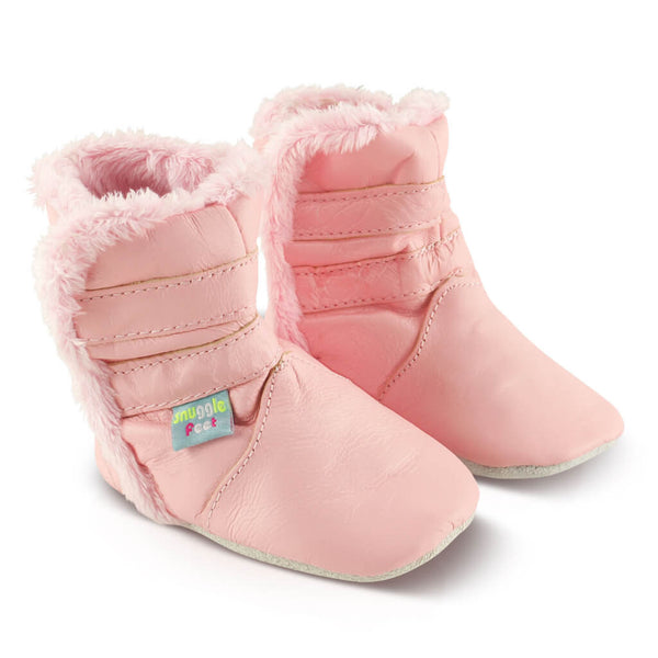 Classic Pink Soft Leather Baby Boots | Side View