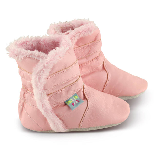 Classic Pink Soft Leather Baby Boots | Front View | Girls | Pink
