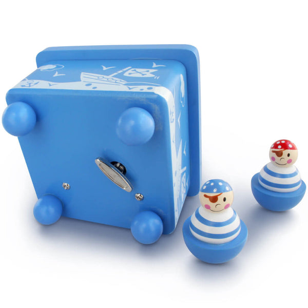 Bottom Music Box | Personalised Pirate Blue Wooden Music Box