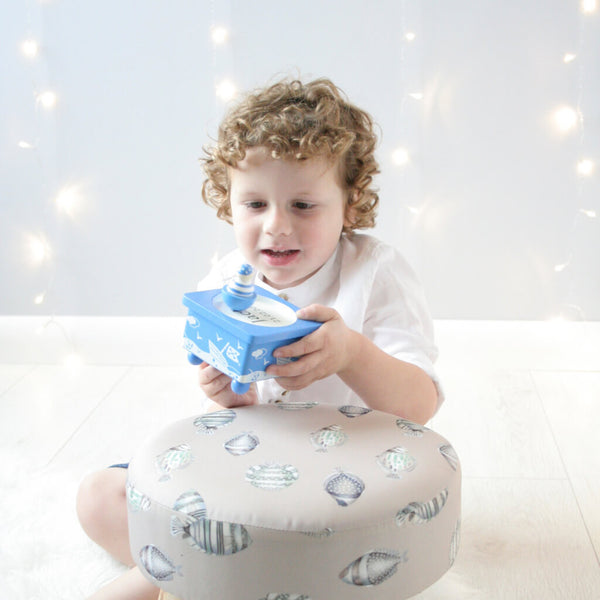 Henry Playing 1 | Personalised Pirate Blue Wooden Music Box